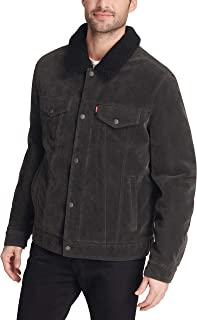 Men's Faux Leather Sherpa Lined Trucker Jacket (Regular and Big and Tall Sizes)