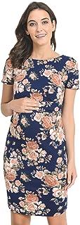 Hello MIZ Womens Maternity Bodycon Dress with Side Pleat