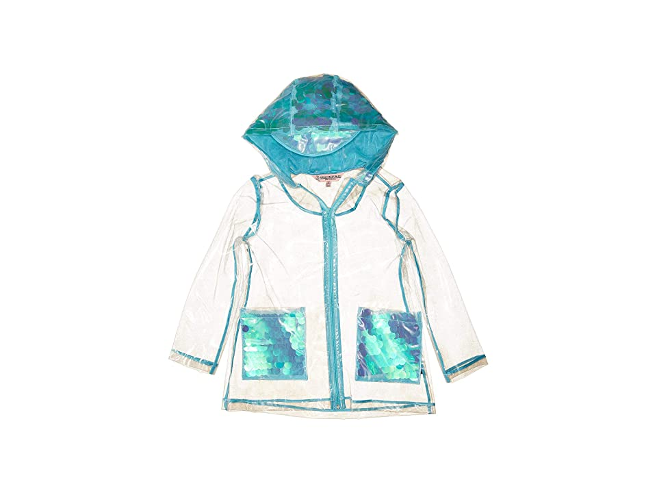 Urban Republic Kids Transparent Raincoat with Sequins (Little Kids/Big Kids) (Aqua) Girl