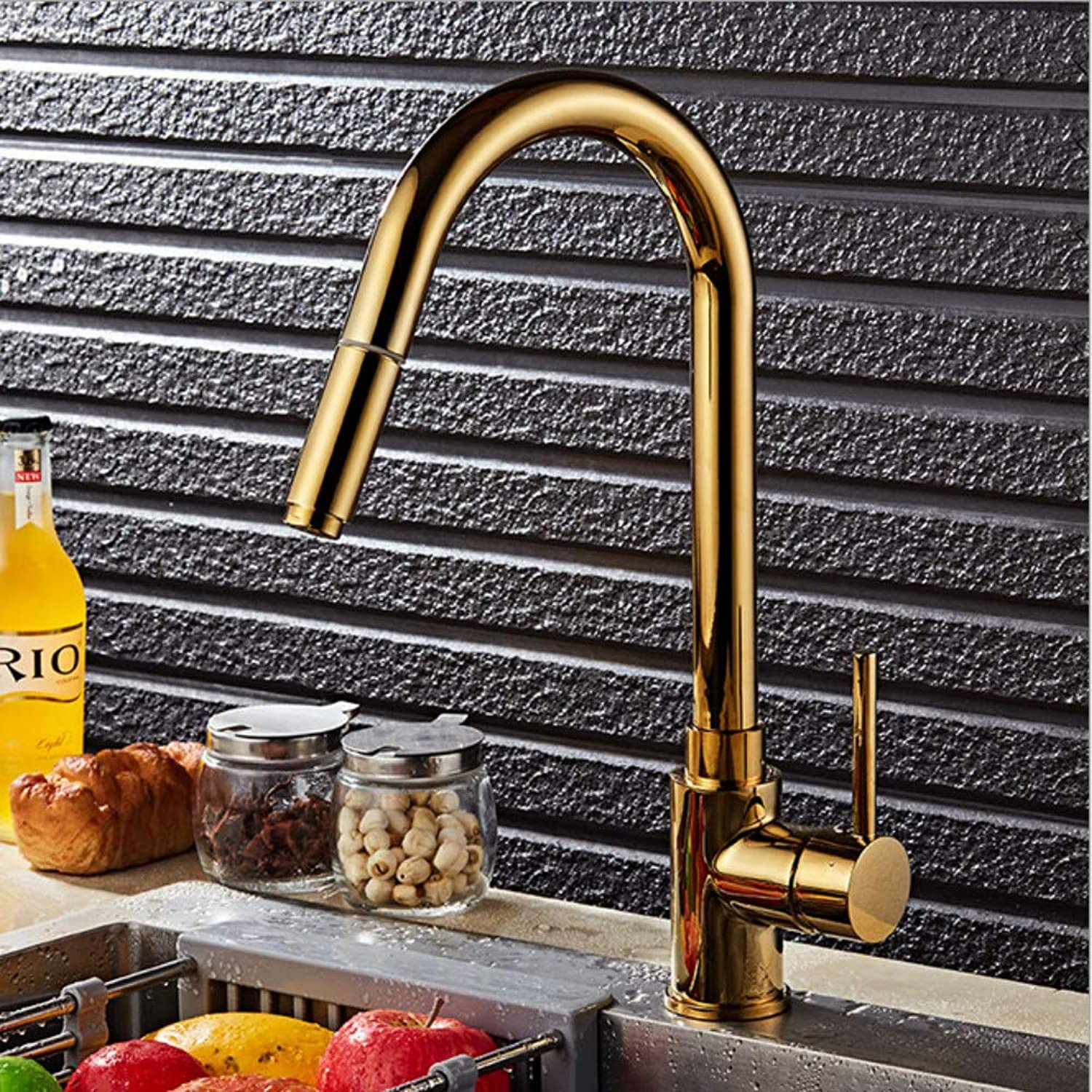 Xiujie Faucet gold Pull Faucet redating Kitchen Faucet Washing Basin Single Handle Single Hole Hot and Cold Faucet
