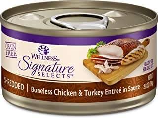 Wellness Core Signature Selects Natural Canned Grain Free Wet Cat Food Shredded Chicken & Turkey