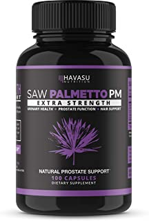 Havasu Nutrition Saw Palmetto Prostate Supplement - Night Time Support for Those with Frequent Urination - Supports DHT Blocker & Hair Loss Prevention - Gluten Free, Non-GMO, 100 Capsules