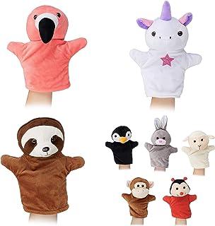 Relaxdays marionnettes pour Enfants, Lot de 8 Animaux, Singe, Licorne, Paresseux, Flamant, poupées, Peluche, colorés ,, 8e...