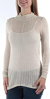Womens Linen Blend Hi-Low Turtleneck Top