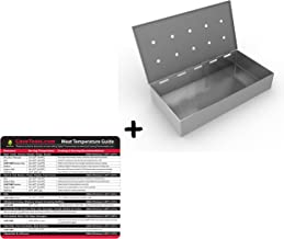 Temp Guide + Smoker Box for BBQ Grill Wood Chips - 25% THICKER STAINLESS STEEL WON'T WARP - Charcoal & Gas Barbecue Meat Smoking with Hinged Lid - Best Grilling Accessories & Utensils Gift for Dad