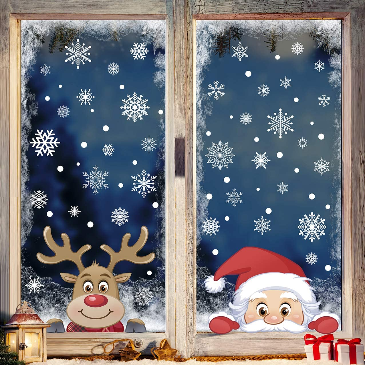 207pcs Christmas Snowflake Window Clings Decals Reindeer Santa Claus White Snowflakes Stickers Decorations for Holiday Merry Christmas Winter Frozen Theme Party Snow Xmas Decor