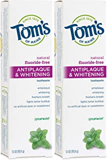 Tom's of Maine Fluoride-Free Antiplaque & Whitening Toothpaste, Natural Toothpaste, Fluoride Free Toothpast...