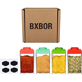 BXBOR 4-Pack Spice Jars - 7 oz Spice Containers - Multi-color Easy to Fill with Chalkboard Labels Included for Salt Shaker - Seasoning Bottle and More