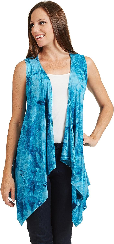 MBJ Womens Lightweight Sleeveless Solid//Tie-Dye Open Front Drape Vest Cardigan S-XXXL Plus Size