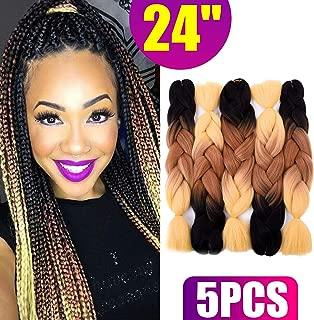 Silike Brown Jumbo Braid Crochet Hair (5 Pieces) 24'' Kanekalon Jumbo Braiding Hair Extensions For Girls (Black/Brown/Yellow)