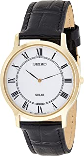 SEIKO Men's Solar Powered Watch, Analog Display and Leather Strap SUP878P1