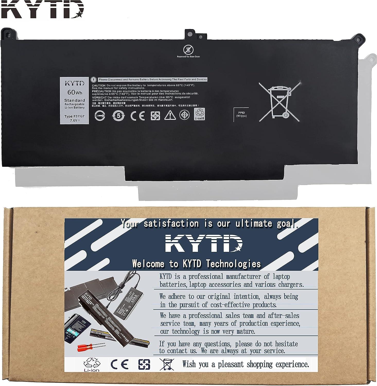KYTD F3YGT 60Wh 7.6V 4-Cell Laptop Battery for Dell Latitude 12 7000 7280 7290/13 7000 7380 7390 P29S002/14 7000 7480 7490 P73G002 Series DM3WC DM6WC 2X39G KG7VF 451-BBYE 453-BBCF