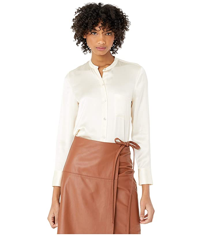 Vince  Slim Fitted Band Collar (Chiffon) Womens Clothing