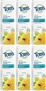 Tom's of Maine Natural Fluoride Free Botanically Bright Toothpaste, Peppermint, 4.7 Ounce, Pack of 6