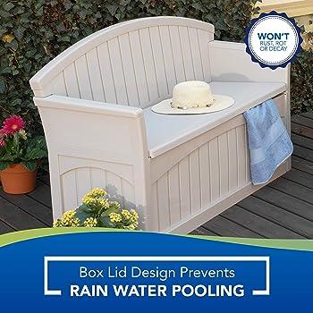 Suncast 50 Gallon Patio Bench with Storage - Decorative Resin Outdoor Patio Bench for Deck, Patio, Garden, Backyard -...