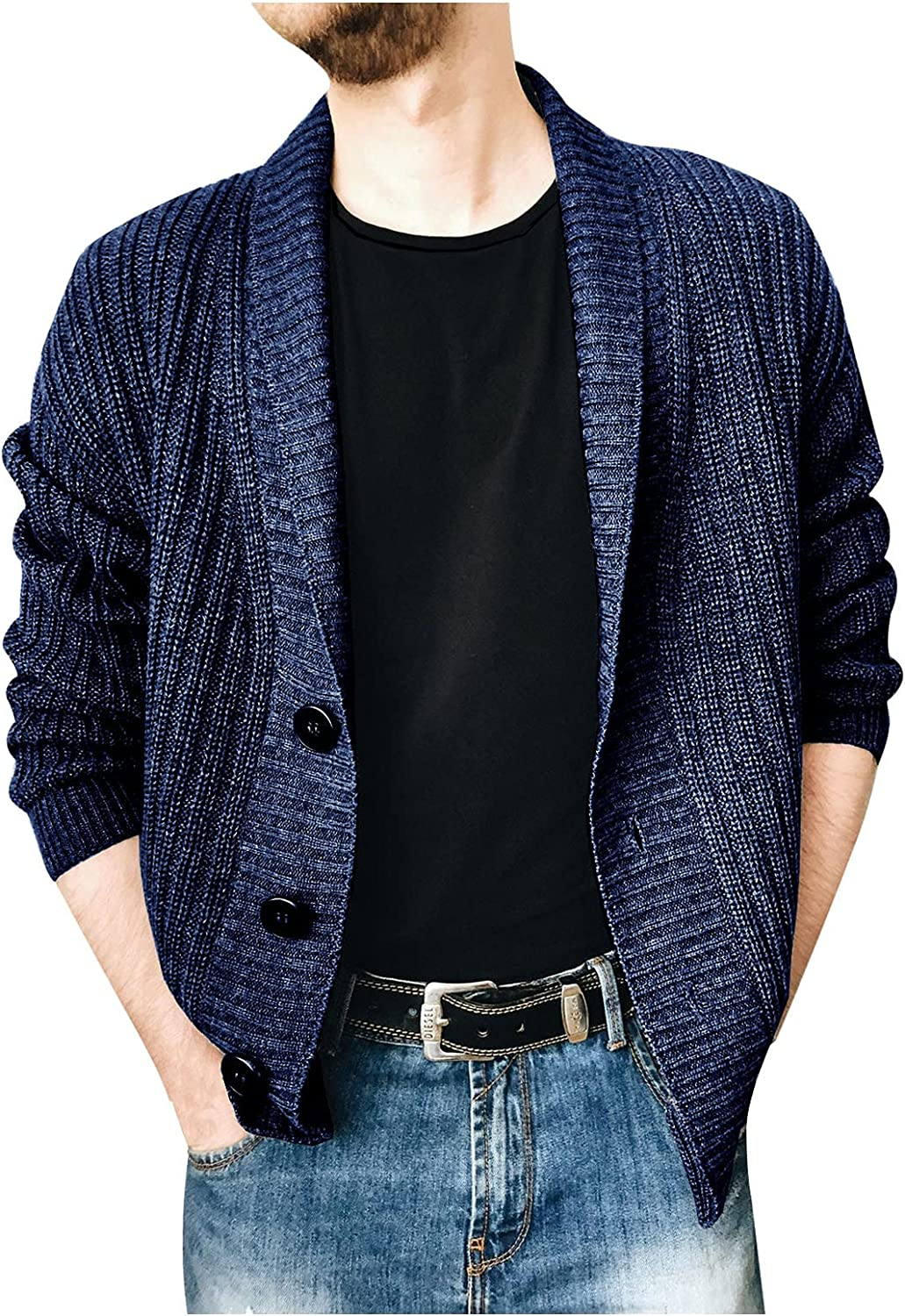HONGJ Knit Cardigan Sweater for Mens, Fall Winter Lapel Single-breasted Button Coat Open Front Casual Slim Outerwear