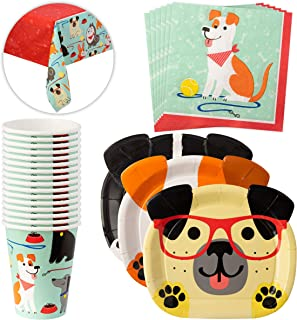 Birthday Party Supplies Set, Tablecloth, Plates, Napkins & Cups, Dog Themed Birthday Party Supplies, Tableware Set For 16 Guests