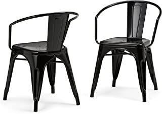 Simpli Home AXCLAR-01-GBL Larkin Industrial Metal Dining Arm Chair (Set of 2) in Black , Fully Assembled