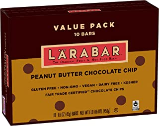 Larabar Gluten Free Bar, Peanut Butter Chocolate Chip, 1.6 oz Bars (10 Count), Whole Food Gluten Free Bars, Dairy Free Snacks