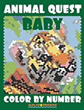 BABY ANIMAL QUEST Color by Number: Activity Puzzle Coloring Book for Adults Relaxation & Stress Relief (Quest Color By Number Books) (Volume 3). (Color By Number Quest)