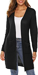 CARCHY Women's Long Sleeve Open Front Knit Midi Cardigan Sweater with Pockets