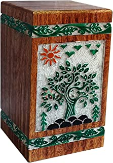 Handicrafts House Hand Carved Wooden Cremation Urns for Human or Pet Ashes Adult, Funeral with Tree of Life Scenery Engraving – Burial Timber Memorial Box Large Size 270 cu/in