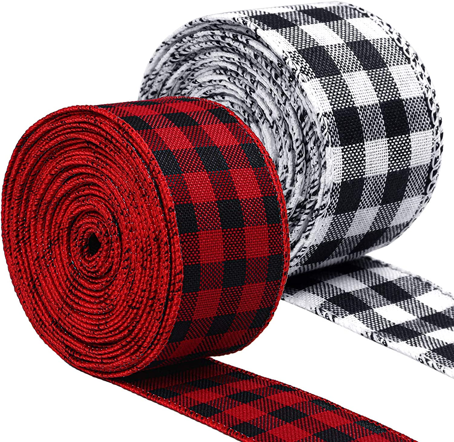 URATOT 2 Rolls Denver Mall Plaid Burlap Christmas Wired Wrappi Ribbon Credence