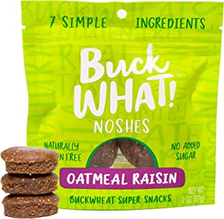 BuckWHAT Oatmeal Raisin Fitness Snacks| Gluten Free, Vegan, No Added Sugar | Delicious & Healthy | Buckwheat | Fiber & Protein, Nut Free, Grain Free, Kosher, 6-2oz packs with 3 Snacks Each