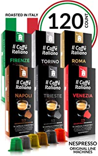 Il Café Italiano Coffee | Capsules Compatible with Nespresso OriginalLine | Certified Genuine Tour D'Italia Variety Pack | 120 Espresso Pods | Roasted in Messina, Italy | Happiness Guaranteed