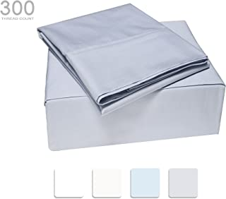 TRANQUIL NIGHTS - 300 Thread Count 100% Cotton Bed Sheet Set, 4-Piece Light Grey King Size Sheets, Cool & Breathable Percale Sheets, Smooth Luxury Bedding, Deep Pocket Sheets to Fit Upto 17