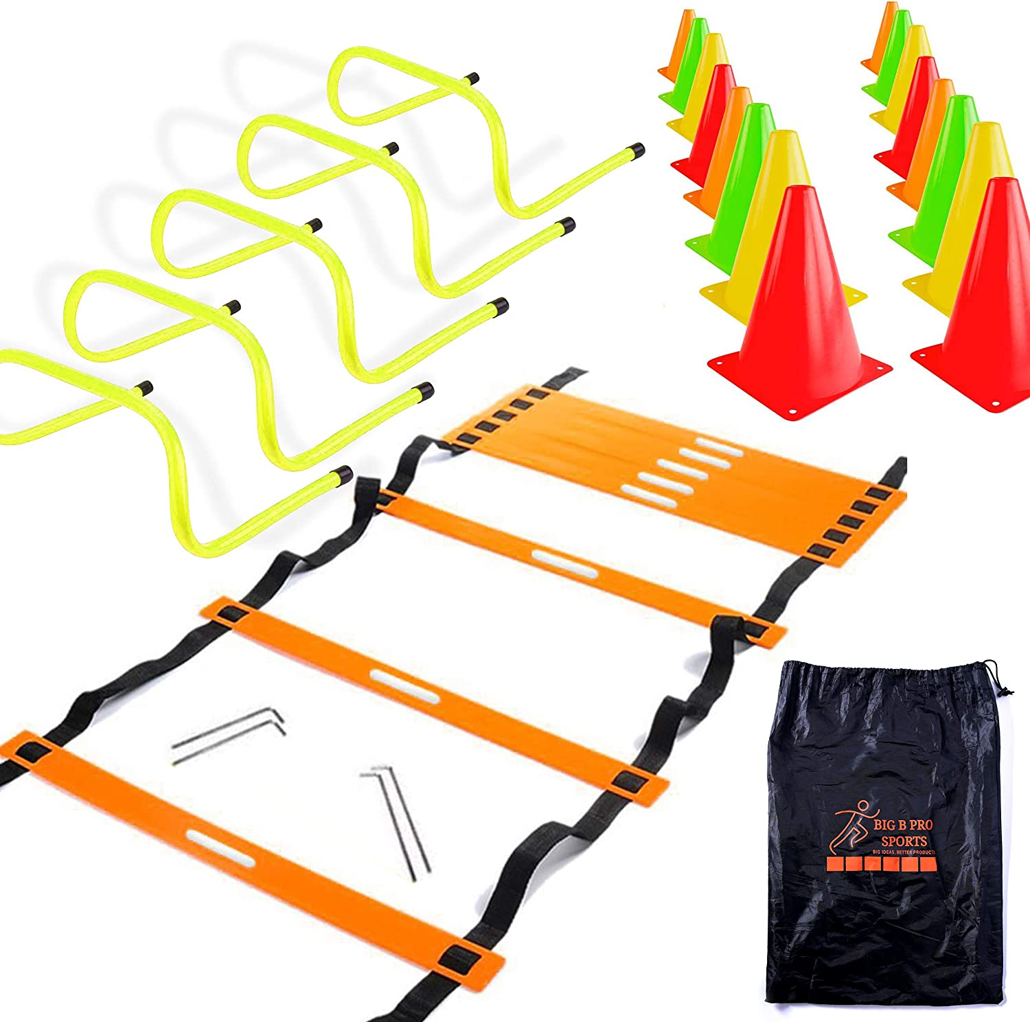 """Big B Pro Sports Speed Agility Training Set - Includes 20 Foot Ladder, 24 Multi Colored 6"""" High Cones, 5 Hurdles 6"""" High, Carry"""