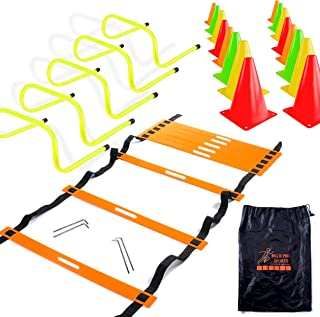 "Big Bro Sports Speed Agility Training Set - Includes 20 Foot Ladder, 24 Multi Colored 6"" High Cones, 5 Hurdles 6"" High, Ca..."