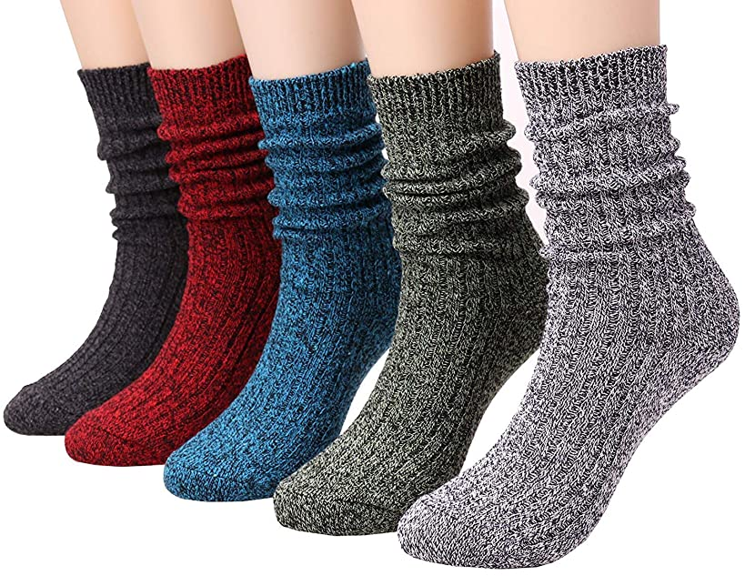 Galsang 5 Pairs Womens Lightweight Cotton Casual Crew Knit Socks Solid Color,Size 5-10 A504