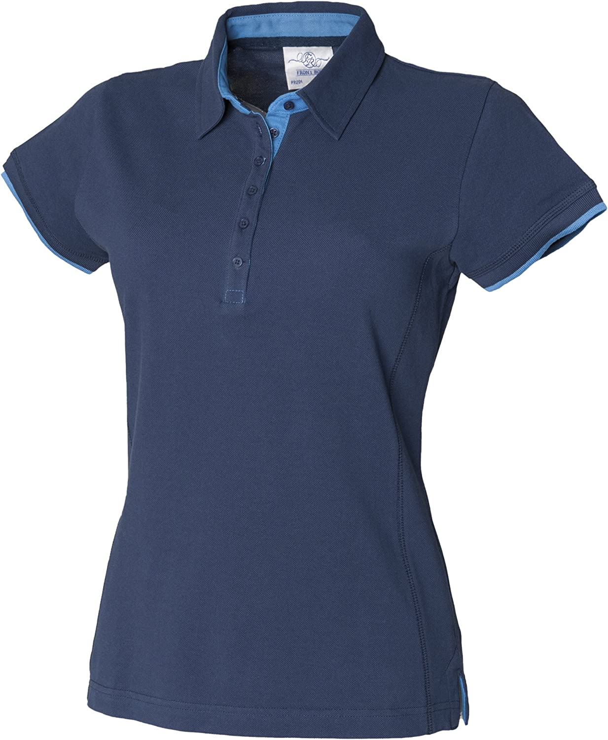 Front Row Womens//Ladies Contrast Pique Polo Shirt