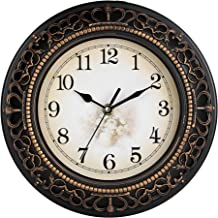 Efinito 10 Inch Antique Look Designer Round Plastic Wall Clock with Glass for Home/Living Room/Bedroom/Kitchen