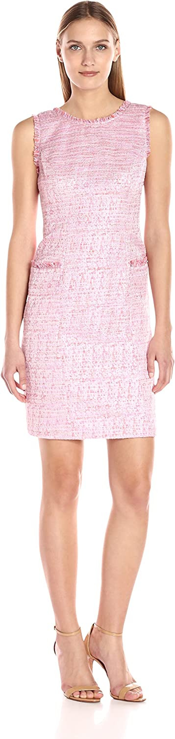 Adrianna Papell Womens Onassis Tweed Trimmed Shift Dress