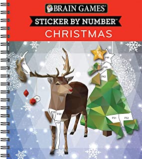 Brain Games - Sticker by Number: Christmas (28 Images to Sticker)