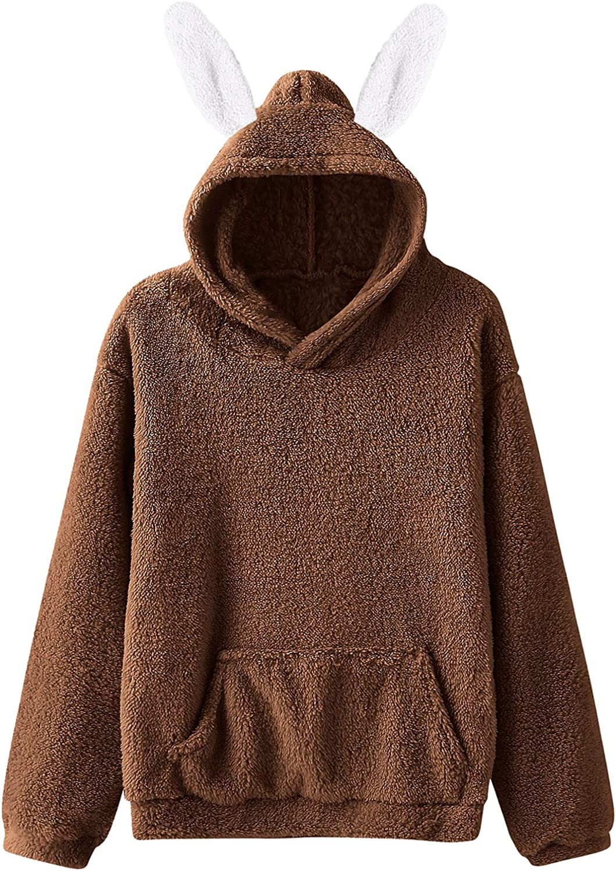 Rabbit Ear Hoodie Women Long Sleeve Sweatshirt Pullover Tops Sol