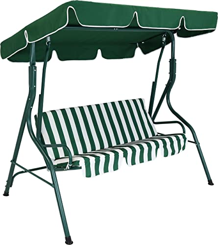 wholesale Sunnydaze Outdoor Porch Swing with Adjustable Canopy and high quality Durable Steel Frame, 2-Person Patio Seater, online Green Striped Seat Cushions online sale
