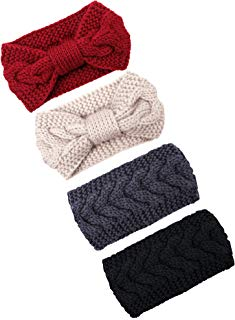 Elcoho Cable Knit Headbands Crochet Head Band Braided Winter Warmer Ear Head Wraps for Women Girls