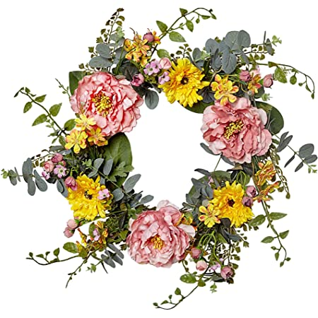 Blesiya Silk Peony Wall Door Wreath Flower Garland Indoor Outdoor Wedding Decor