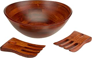 Lipper International 294-3 Cherry Finished Wavy Rim Serving Bowl with 2 Salad Hands, Large, 13
