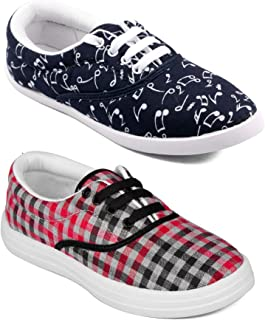 ASIAN Multicolor Walking Shoes,Running Shoes,Casual Shoes,Canvas Shoes,Sneakers,Loafers Combo Pack of 2 for Women UK-6