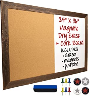 Dry Erase Cork Board Combo: Magnetic White Board with Cork Bulletin & Rustic Wooden Frame for Home, School, Office - 24