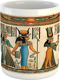 Lunarable Egyptian Mug, Egyptian Papyrus Depicting Queen Nefertari Making an Offering to Isis Image Print, Ceramic Coffee Mug Cup for Water Tea Drinks, 11 oz, Teal Orange