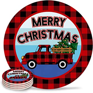 8 Piece Drink Coaster Absorbing Stone Coaster Cork Base Merry Christmas Winter Red Black Plaid Truck and Christmas Tree Absorbent Stone Coaster Set Housewarming Gift for Home Decor