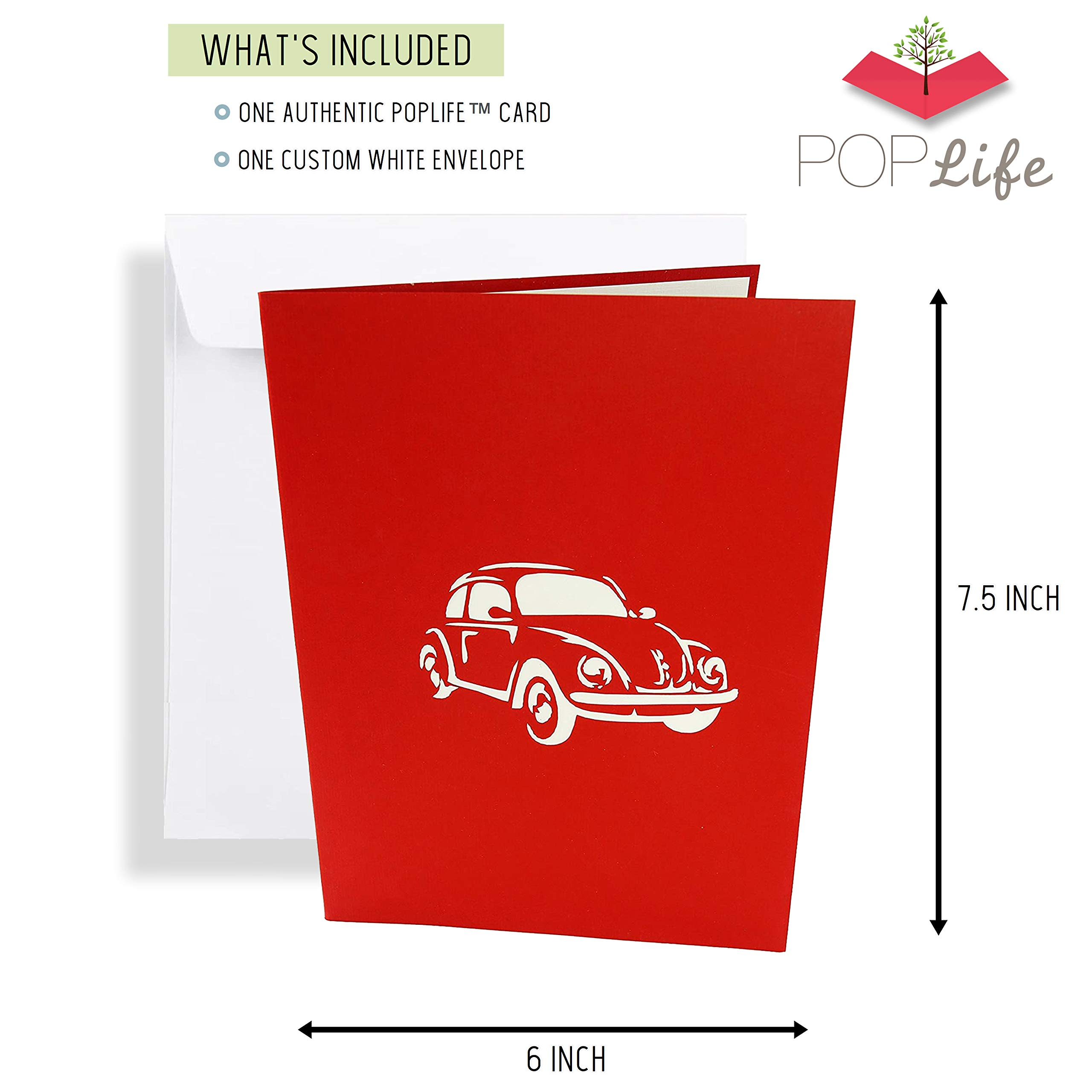 father/'s day Beetle Red Card VW Pop Up Kirigiami 3D Cards Handmade uniqe  Birthday Wedding mother/'s day Baby shower anniversary
