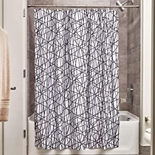 "InterDesign Abstract Fabric Shower Curtain, 72"" x 72"", Black/White"