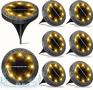 Solar Powered Ground Lights 8pack,Waterproof LED Solar Lights Outdoor Garden Decorative Solar Disk Lights,Solar In-Ground ...