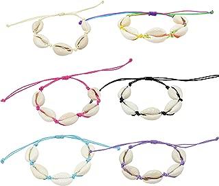 FROG SAC 6 Colorful Natural Cowrie Shell Bracelets, Adjustable Friendship Bracelets for Women and Girls, VSCO Girl String Bracelets Jewelry, Thread Sea Shell BFF Best Friend Friendship Bracelet Gifts